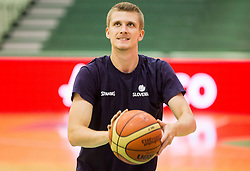 Luka Rupnik of Slovenia during warming up prior to the friendly basketball match between National teams of Slovenia and Australia, on August 3, 2015 in Arena Tri lilije, Lasko, Slovenia. Photo by Vid Ponikvar / Sportida