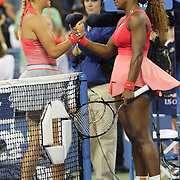 Serena Williams, USA, after her victory, embraces Victoria Azarenka, Belarus, during the Women's Singles Final at the US Open, Flushing. New York, USA. 8th September 2013. Photo Tim Clayton