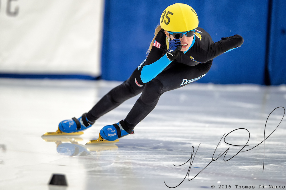March 19, 2016 - Verona, WI - Kamryn Lute, skater number 135 competes in US Speedskating Short Track Age Group Nationals and AmCup Final held at the Verona Ice Arena.