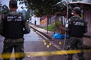 Military Police attend crime scenes in Tegucigalpa usually arriving before police and forensics investigators. 8th August 2017.