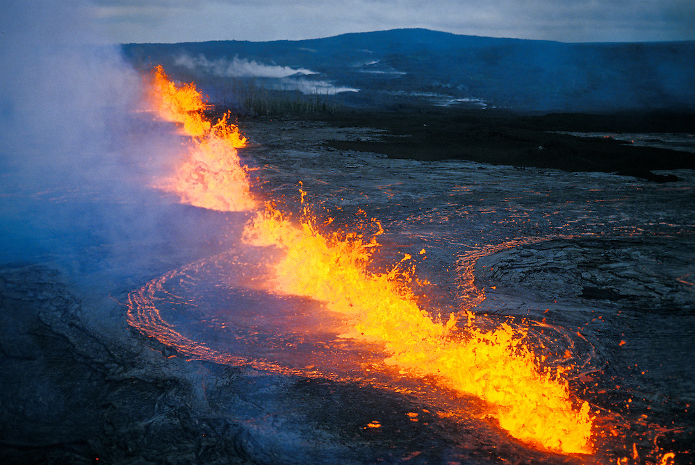 Lava fountaining at fissure eruption near Pu'u O'o in the east rift zone of Kilauea volcano, Hawaii Volcanoes National Park.