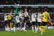 Derby County goalkeeper Ben Hamer (12) clears the ball during the EFL Sky Bet Championship match between Derby County and Millwall at the Pride Park, Derby, England on 14 December 2019.