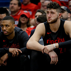 Apr 19, 2018; New Orleans, LA, USA; Portland Trail Blazers guard Damian Lillard (left) and center Jusuf Nurkic (right) on the bench during the fourth quarter in game three of the first round of the 2018 NBA Playoffs at the Smoothie King Center. The Pelicans defeated the Trail Blazers 119-102.  Mandatory Credit: Derick E. Hingle-USA TODAY Sports
