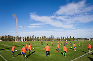 MALTA, La Valletta, voetbal, seizoen 2015-2016, 9-1-2016, winterstop, training PSV,  trainingscomplex National Stadium, warming up, overzicht, sfeerbeeld.