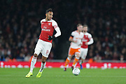 Arsenal striker Pierre-Emerick Aubameyang (14) during the EFL Cup 4th round match between Arsenal and Blackpool at the Emirates Stadium, London, England on 31 October 2018.