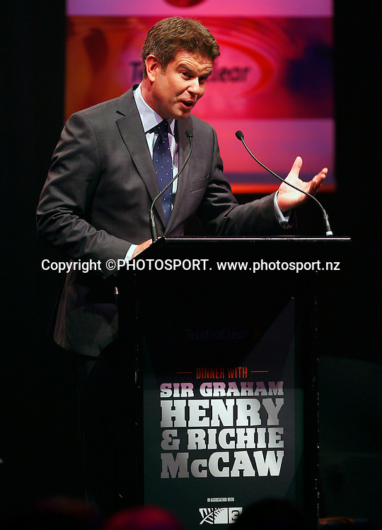MC John Campbell. A Tribute to Sir Graham Henry and Richie McCaw, Telstra Pacific Events Centre, Manukau, Auckland, Thursday 19 April 2012. Photo: Simon Watts / photosport.co.nz