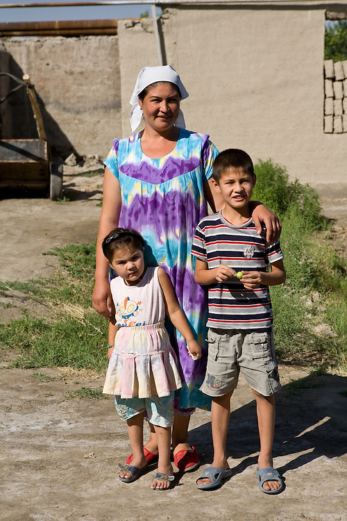 Mother and children in village outside Bukhara