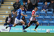 Louis Reed and Joe Morrell during the EFL Sky Bet League 2 match between Chesterfield and Cheltenham Town at the b2net stadium, Chesterfield, England on 30 September 2017. Photo by Antony Thompson.