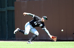 July 25, 2017 - Chicago, Illinois, U.S. - Chicago White Sox right fielder AVISAIL GARCIA can't make the catch on a double by the Chicago Cubs' Addison Russell in the second inning on Tuesday, at Wrigley Field. The Cubs won, 7-2. (Credit Image: © Brian Cassella/TNS via ZUMA Wire)