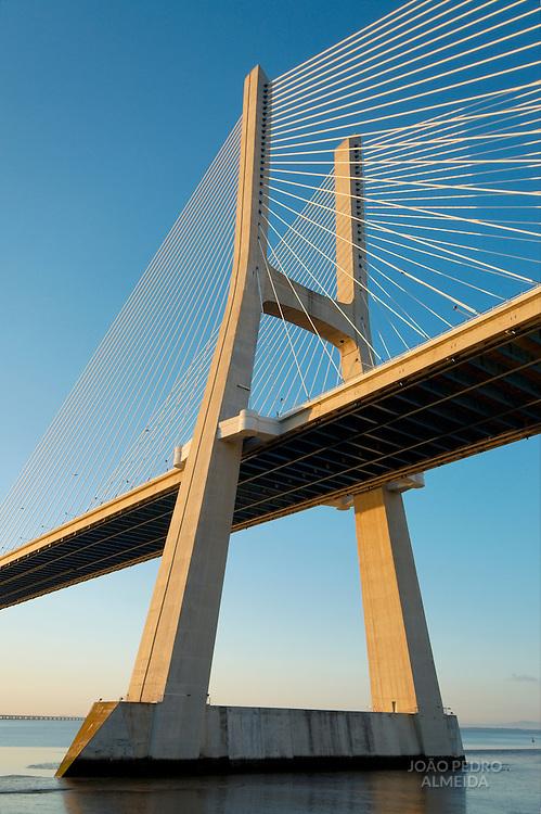 View of Vasco da Gama bridge north tower by sunrise