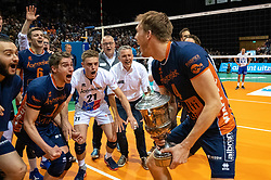 12-05-2019 NED: Abiant Lycurgus - Achterhoek Orion, Groningen<br /> Final Round 5 of 5 Eredivisie volleyball, Orion wins Dutch title after thriller against Lycurgus 3-2 / Joris Marcelis #4 of Orion, Pim Kamps #7 of Orion, Rob Jorna #10 of Orion