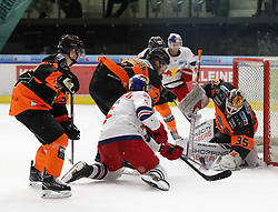 18.01.2019, Merkur Eisstadion, Graz, AUT, EBEL, Moser Medical Graz 99ers vs EC Red Bull Salzburg, 39. Runde, im Bild von links Karl Johansson (Moser Medical Graz 99ers), Robin Weihager (Moser Medical Graz 99ers), Thomas Raffl (EC Red Bull Salzburg) und Robin Rahm (Moser Medical Graz 99ers) // during the Erste Bank Eishockey League 39th round match between Moser Medical Graz 99ers and EC Red Bull Salzburg at the Merkur Eisstadion in Graz, Austria on 2019/01/18. EXPA Pictures © 2019, PhotoCredit: EXPA/ Erwin Scheriau