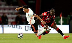 Enzo Perez of Valencia is fouled by Benik Afobe of Bournemouth - Mandatory by-line: Robbie Stephenson/JMP - 03/08/2016 - FOOTBALL - Vitality Stadium - Bournemouth, England - AFC Bournemouth v Valencia - Pre-season friendly