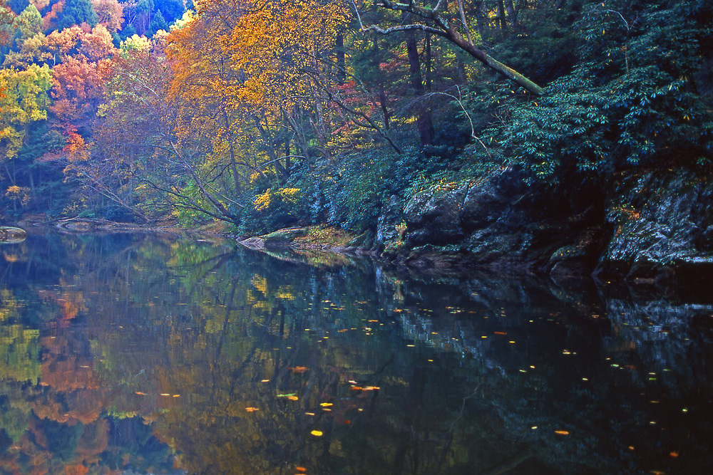 Reflective Muddy Creek flows into Susquehanna River, York Co., PA