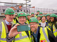 Dean Alan Penn,  Provost and Head of School Bob Sheil take a selfie with students at theTopping out Ceremony of 22, Gordon Street,<br /> Bartlett School of Architecture UCL.