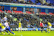 Goal Birmingham City midfielder Jérémie Bela (11) scores a goal from a free kick 1-2 during the EFL Sky Bet Championship match between Reading and Birmingham City at the Madejski Stadium, Reading, England on 7 December 2019.