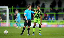 Referee Anthony Coggins has words with Ebou Adams of Forest Green Rovers- Mandatory by-line: Nizaam Jones/JMP - 08/02/2020 - FOOTBALL - New Lawn Stadium - Nailsworth, England - Forest Green Rovers v Walsall - Sky Bet League Two