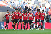 Marouane Fellaini of Manchester United celebrates his goal with team mates 0-1 during the The FA Cup semi final match between Everton and Manchester United at Wembley Stadium, London, England on 23 April 2016. Photo by Phil Duncan.