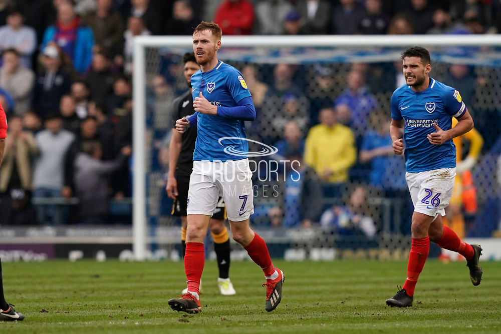 Goal, Tom Naylor of Portsmouth scores, Portsmouth 2-0 Bradford City during the EFL Sky Bet League 1 match between Portsmouth and Bradford City at Fratton Park, Portsmouth, England on 2 March 2019.