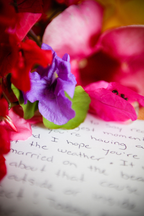 Sebastien's wedding day letter to Amy with a bouquet he picked from the resort gardens at Dreams Resort, Tulum, Mexico