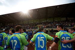 Players of Slovenia after rugby match between National team of Slovenia (green) and Bulgaria (white) at EUROPEAN NATIONS CUP 2012-2014 of C group 2nd division, on April 12, 2014, at ZAK Stadium, Ljubljana, Slovenia. (Photo by Matic Klansek Velej / Sportida.com)