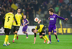 Sebastian Cristoforo of Sevilla vs Damjan Bohar of Maribor during football match between NK Maribor and Sevilla FC (ESP) in 1st Leg of Round of 32 of UEFA Europa League 2014 on February 20, 2014 at Stadium Ljudski vrt, Maribor, Slovenia. Photo by Vid Ponikvar / Sportida