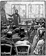 Lecture on physiology and hygiene in progress at the Young Men's Christian Association (YMCA's) Exeter Hall, London. Wood engraving 1887