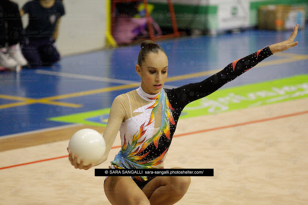 Linda Vecchiato of Comense 1872 performing during the 2011 italian Serie A rhythmic gymnastic competition, that took place in Pavia (Italy) on 5th November, 2011.