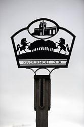 © Licensed to London News Pictures. 15/02/2013. The village sign features two prancing horses. A French restaurant in Kent has been selling Horse Burgers for a few months. Chez Sophie in Knockholt, near Sevenoaks, Kent, has the burgers on its menu and is served with a fried egg and salad. Many of the restaurants customers in the village have tried the horse burger. Photo credit : Grant Falvey/LNP