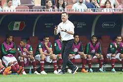 MOSCOW, June 17, 2018  Head coach Juan Carlos Osorio of Mexico reacts during a group F match between Germany and Mexico at the 2018 FIFA World Cup in Moscow, Russia, June 17, 2018. (Credit Image: © Xu Zijian/Xinhua via ZUMA Wire)