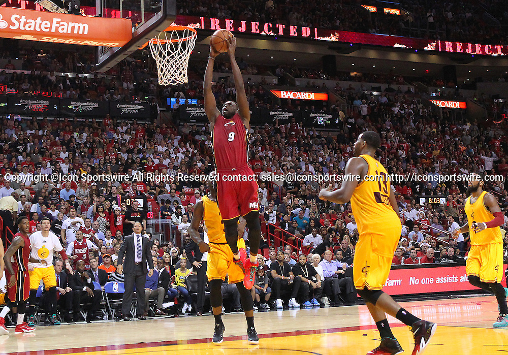 Dec. 25, 2014 - Miami, FL, USA - Miami Heat forward Luol Deng goes to the basket during the fourth quarter of an NBA basketball game against the Cleveland Cavaliers on Dec. 25, 2014 at the AmericanAirlines Arena in Miami. The Heat won 101-91