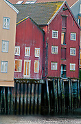 Old buildings alnong the river Nidelva in Trondheim, Norway.