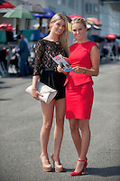 04/08/2013 Ciara Dickson from Ashborne Co. Meath and Megan Brennan Dunboune Co. Meath at the last day of the  Galway Races. Picture:Andrew Downes