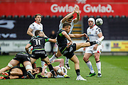 Ospreys scrum half Rhys Webb clears the ball during the Guinness Pro 12 2017 Round 21 match between Ospreys and Ulster at the Liberty Stadium, Swansea, Wales on 29 April 2017. Photo by Andrew Lewis.