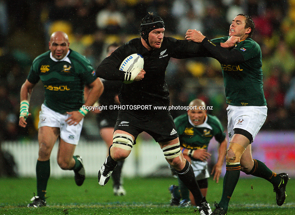 Ali Williams hands off Butch James.<br /> Philips Tri Nations, All Blacks vs South Africa at Westpac Stadium, Wellington, New Zealand, Saturday 5 July 2008. Photo: Dave Lintott/PHOTOSPORT