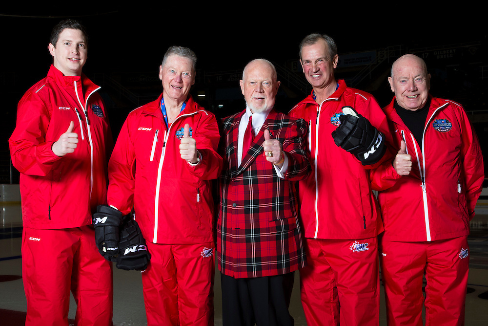 Colby Armstrong, Brian Kilrea, Don Cherry, Brian Sutter and Bert O'Brien pose for a team photo ahead of the CHL/NHL top prospects game in Vancouver B.C. on January 28th, 2016.