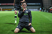 Forest Green Rovers Jack Aitchison(29), on loan from Celtic scores a goal 0-1 and celebrates during the EFL Sky Bet League 2 match between Morecambe and Forest Green Rovers at the Globe Arena, Morecambe, England on 22 October 2019.
