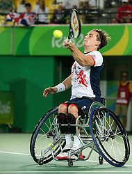 Alfie Hewett  and Gordon Reid  (out of frame) of the UK play against Stephane Houdet (out of frame) and Nicolas Peifer (out of frame) of France in the Tennis Men's Doubles Gold Medal Match during Day 8 of the Rio 2016 Summer Paralympics Games on September 15, 2016 in Olympic Tennis Centre, Rio de Janeiro, Brazil. Photo by Vid Ponikvar / Sportida
