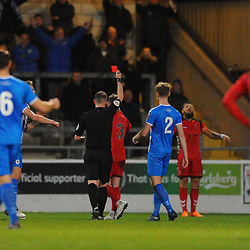 TELFORD COPYRIGHT MIKE SHERIDAN 22/12/2018 - Shane Sutton of AFC Telford is shown a red card, sent off during the Vanarama Conference North fixture between Chester FC and AFC Telford United at the Swansway Deva Stadium, Chester.