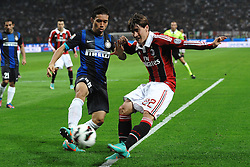 07.10.2012, Giuseppe Meazza Stadion, Mailand, ITA, Serie A, AC Mailand vs Inter Mailand, 7. Runde, im Bild 07.10.2012, Giuseppe Meazza Stadion, Mailand, ITA, Serie A, AC Mailand vs Inter Mailand, 7. Runde, im Bild Yuto Nagatomo Inter, Bojan Krkic Milan // during the Italian Serie A 7th round match between AC Milan and Inter Milan at the Giuseppe Meazza Stadium, Milan, Italy on 2012/10/07. EXPA Pictures © 2012, PhotoCredit: EXPA/ Insidefoto/ Andrea Staccioli..***** ATTENTION - for AUT, SLO, CRO, SRB, SUI and SWE only *****
