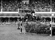 Aga Khan Trophy..1979..10.08.1979..08.10.1979..10th August 1979..The annual staging of the Aga Khan Cup took place  at the Royal Dublin Showgrounds, Ballsbridge,Dublin today.It was the first time since 1937 that Ireland won the trophy outright. The winning Irish team comprised of Paul Darragh,Capt Con Power,James Kernan and Eddie Macken..Captain Con Power drives his horse, Rockbarton,on to what turned out to be a memorable victory.