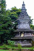 Bali, Tabanan, Bedugul. A Buddhist stupa at the Ulun Danu temple, close to the Bratan lake.