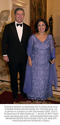 CROWN PRINCE ALEXANDER OF YUGOSLAVIA and CROWN PRINCESS KATHERINE OF YUGOSLAVIA, at a dinner in London on 5th December 2000.<br />