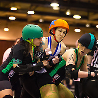 Ohio Roller Girls triple header against Burning River Roller Girls (Cleveland, OH) and the Bleeding Heartland Rollergirls (Bloomington, IN)..9 March 2013: at Louche Building - Ohio Expo Center in Columbus, Ohio. Dorn Byg/Byg Day LLC