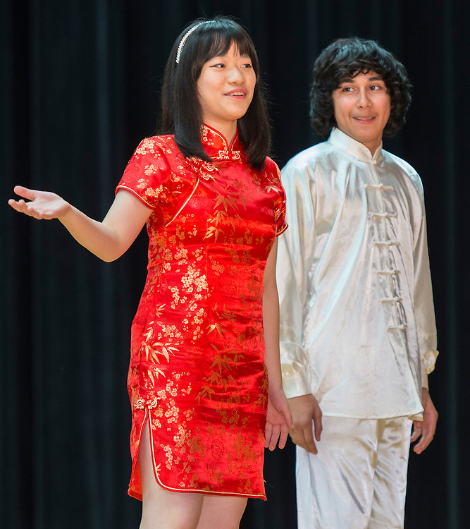 Furr High School students perform during a district wide celebration of the Chinese New Year at Sharpstown International School, February 22, 2014.