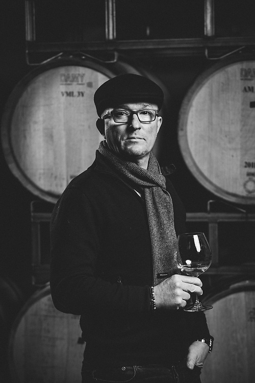 Black and white Portrait of French winemaker and consultant Pierre Milleman for 00 Winery.