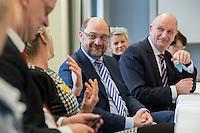 """22 FEB 2017, LUEBBEN/GERMANY:<br /> Martin Schulz (M), SPD, Kanzlerkandidat, und Dietmar Woidke (R), SPD, Ministerpraesident Brandenburg, waehrend ein Treffen mit dem Netzwerk """"Gesund Kinder e.V."""", Spreewaldklinik<br /> IMAGE: 20170222-01-081"""