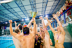 Players of AVK Triglav Kranj celebrate after the match between AVK Triglav Kranj and VKL Ljubljana Slovan in 4th Round of Final of Slovenian Water polo National Championship, on June 20, 2018 in Pokriti olimpijski bazen Kranj, Kranj, Slovenia. Photo by Ziga Zupan / Sportida