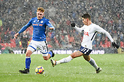 Rochdale Midfielder Callum Camps (10) and Tottenham Hotspur Midfielder Erik Lamela (11) battle for the ball during the The FA Cup match between Tottenham Hotspur and Rochdale at Wembley Stadium, London, England on 28 February 2018. Picture by Stephen Wright.