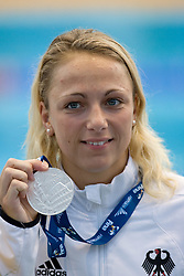 Second placed Daniela Samulski of Germany at the victory ceremony after the Women's 50m Backstroke Final during the 13th FINA World Championships Roma 2009, on July 30, 2009, at the Stadio del Nuoto,  in Foro Italico, Rome, Italy. (Photo by Vid Ponikvar / Sportida)